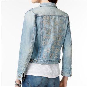 Lucky Brand Ambrose wash Embroided denim jacket M